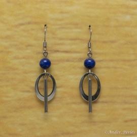 Boucles Oreilles Lapis Lazuli Tube