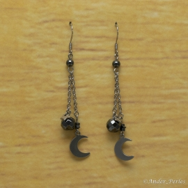 Boucles Oreilles Hématite Demi Lune